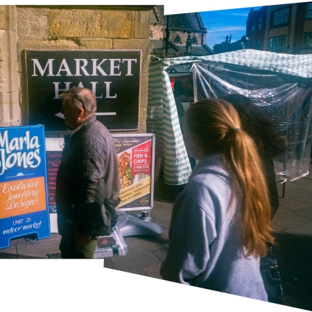 Outside the market hall, Durham City